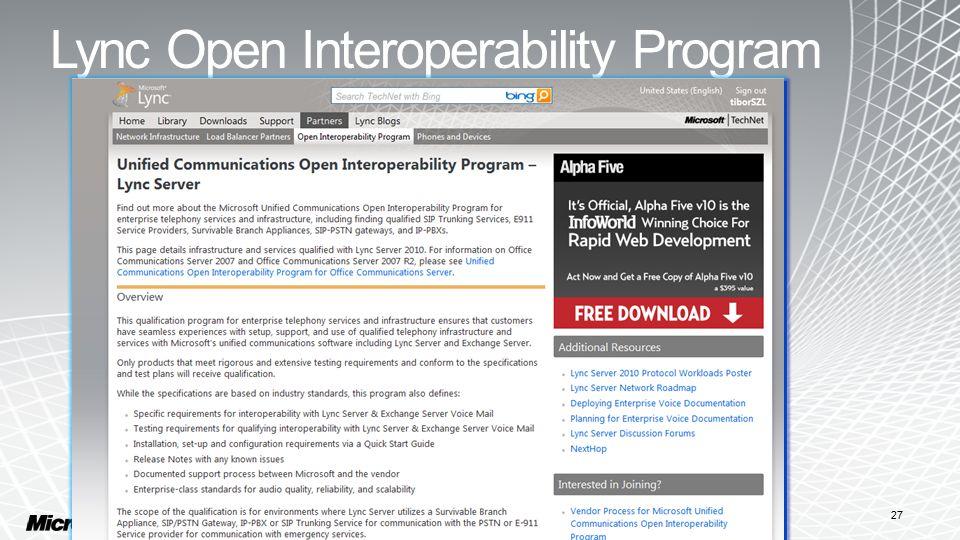 Lync Open Interoperability Program 27