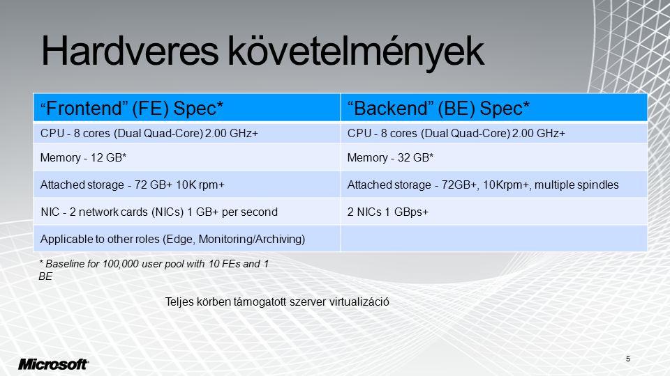 "Hardveres követelmények 5 "" Frontend"" (FE) Spec*""Backend"" (BE) Spec* CPU - 8 cores (Dual Quad-Core) 2.00 GHz+ Memory - 12 GB*Memory - 32 GB* Attached"