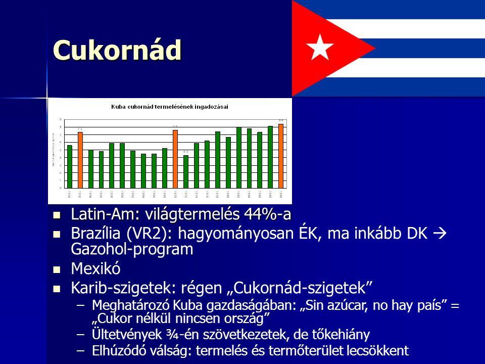 """Cukornád Latin-Am: világtermelés 44%-a Latin-Am: világtermelés 44%-a Brazília (VR2): hagyományosan ÉK, ma inkább DK  Gazohol-program Mexikó Karib-szigetek: régen """"Cukornád-szigetek – –Meghatározó Kuba gazdaságában: """"Sin azúcar, no hay país = """"Cukor nélkül nincsen ország – –Ültetvények ¾-én szövetkezetek, de tőkehiány – –Elhúzódó válság: termelés és termőterület lecsökkent"""