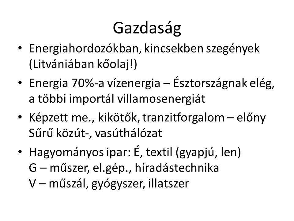Gazdaság Energiahordozókban, kincsekben szegények (Litvániában kőolaj!) Energia 70%-a vízenergia – Észtországnak elég, a többi importál villamosenergi