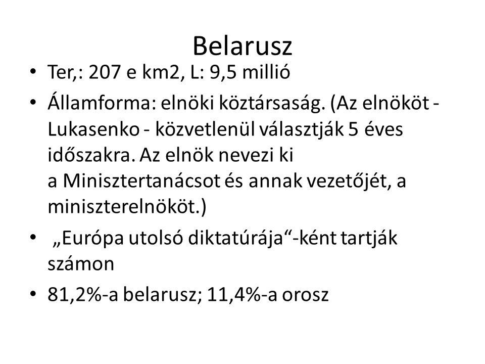 Belarusz Ter,: 207 e km2, L: 9,5 millió Államforma: elnöki köztársaság. (Az elnököt - Lukasenko - közvetlenül választják 5 éves időszakra. Az elnök ne