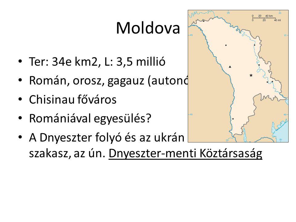 Moldova Ter: 34e km2, L: 3,5 millió Román, orosz, gagauz (autonóm) Chisinau főváros Romániával egyesülés? A Dnyeszter folyó és az ukrán határ közötti