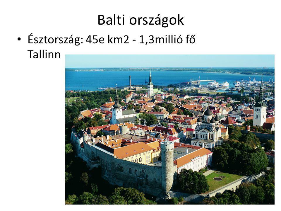 Balti országok Észtország: 45e km2 - 1,3millió fő Tallinn