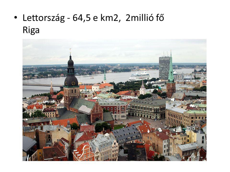 Lettország - 64,5 e km2, 2millió fő Riga