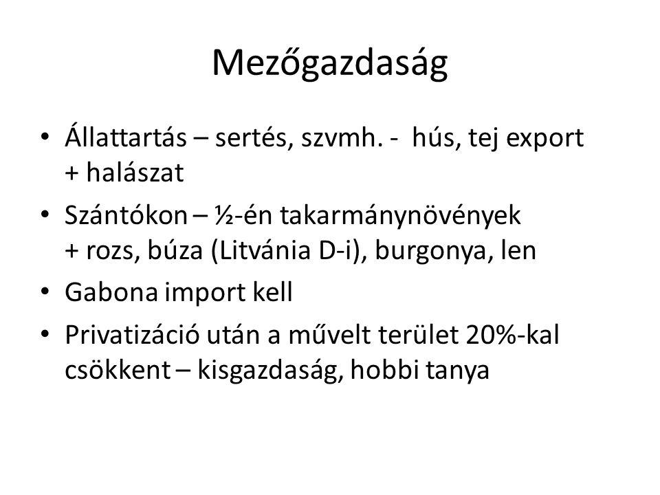 Mezőgazdaság Állattartás – sertés, szvmh. - hús, tej export + halászat Szántókon – ½-én takarmánynövények + rozs, búza (Litvánia D-i), burgonya, len G