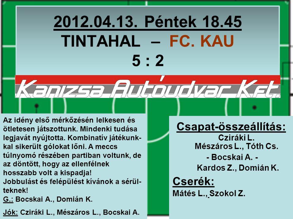 2012.04.13. Péntek 18.45 TINTAHAL – FC. KAU 5 : 2 Csapat-összeállítás: Cziráki L.