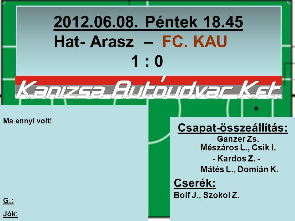 2012.06.08. Péntek 18.45 Hat- Arasz – FC. KAU 1 : 0 Csapat-összeállítás: Ganzer Zs.