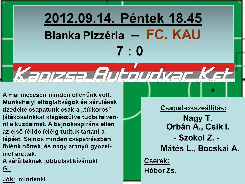 2012.09.14. Péntek 18.45 Bianka Pizzéria – FC. KAU 7 : 0 Csapat-összeállítás: Nagy T.