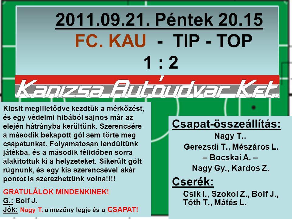 2011.09.21. Péntek 20.15 FC. KAU - TIP - TOP 1 : 2 Csapat-összeállítás: Nagy T..