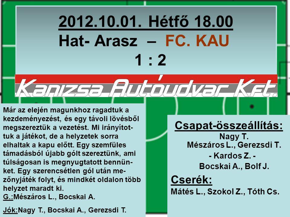 2012.10.01. Hétfő 18.00 Hat- Arasz – FC. KAU 1 : 2 Csapat-összeállítás: Nagy T.