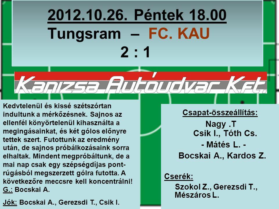 2012.10.26. Péntek 18.00 Tungsram – FC. KAU 2 : 1 Csapat-összeállítás: Nagy.T Csik I., Tóth Cs.