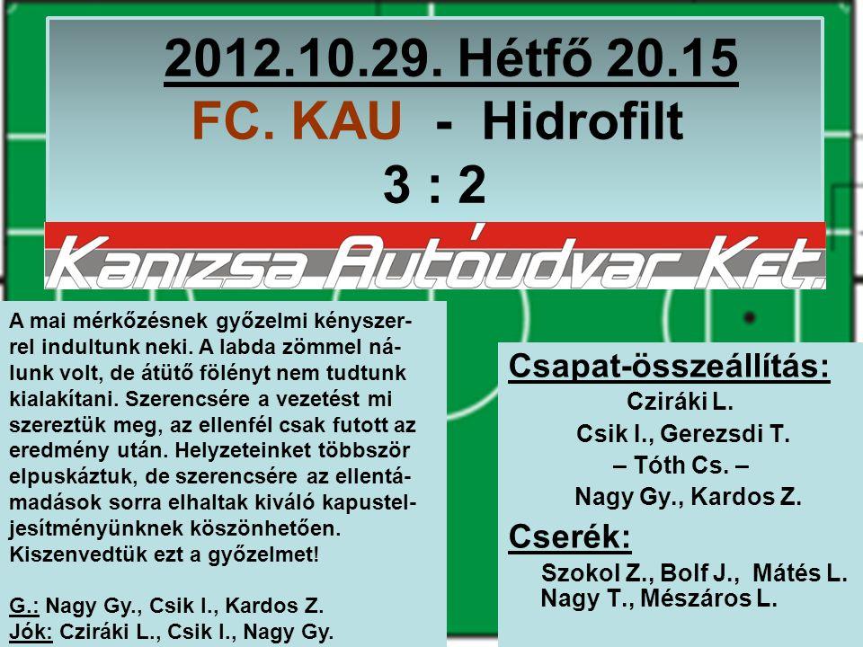 2012.10.29. Hétfő 20.15 FC. KAU - Hidrofilt 3 : 2 Csapat-összeállítás: Cziráki L.