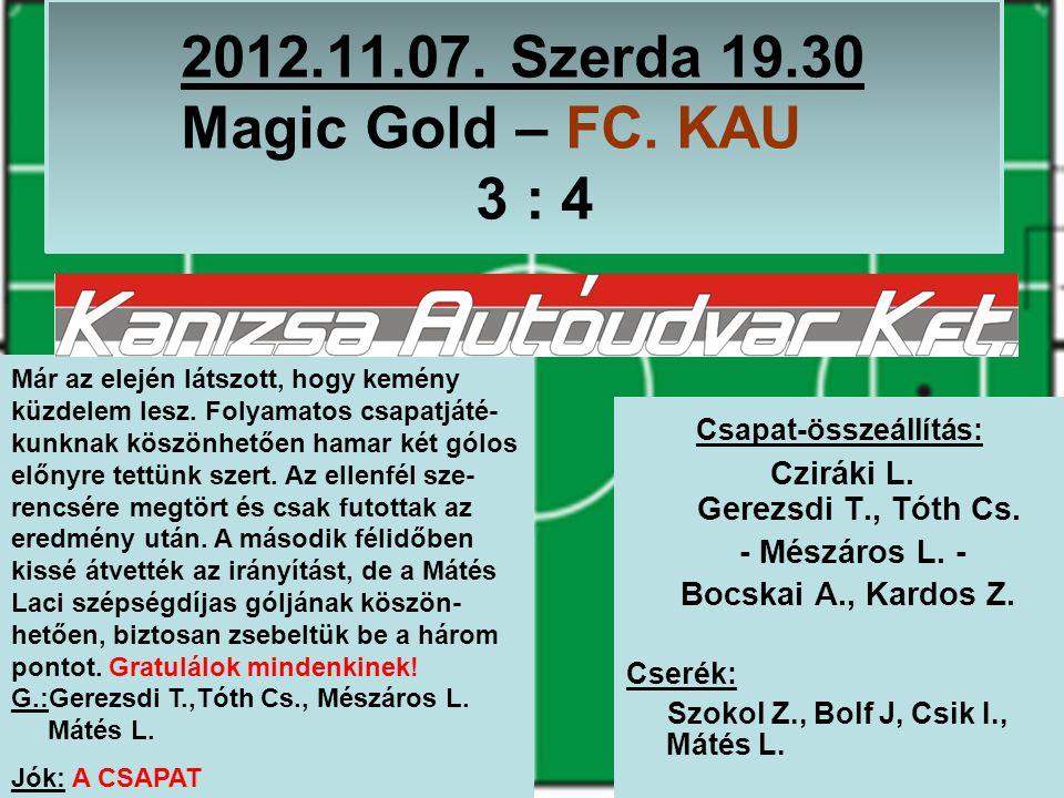 2012.11.07. Szerda 19.30 Magic Gold – FC. KAU 3 : 4 Csapat-összeállítás: Cziráki L.