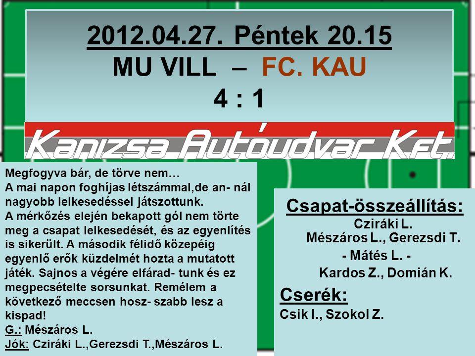 2012.04.27. Péntek 20.15 MU VILL – FC. KAU 4 : 1 Csapat-összeállítás: Cziráki L.