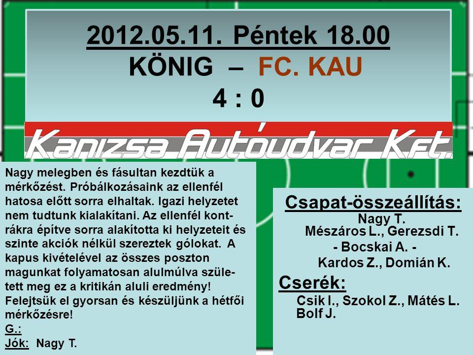 2012.05.11. Péntek 18.00 KÖNIG – FC. KAU 4 : 0 Csapat-összeállítás: Nagy T.