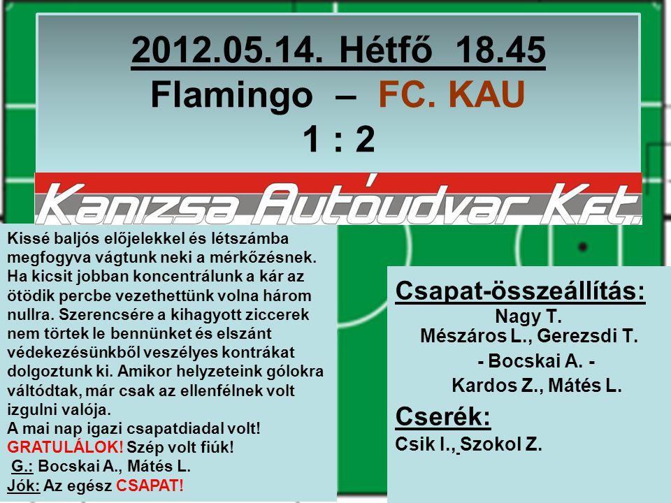 2012.05.14. Hétfő 18.45 Flamingo – FC. KAU 1 : 2 Csapat-összeállítás: Nagy T.