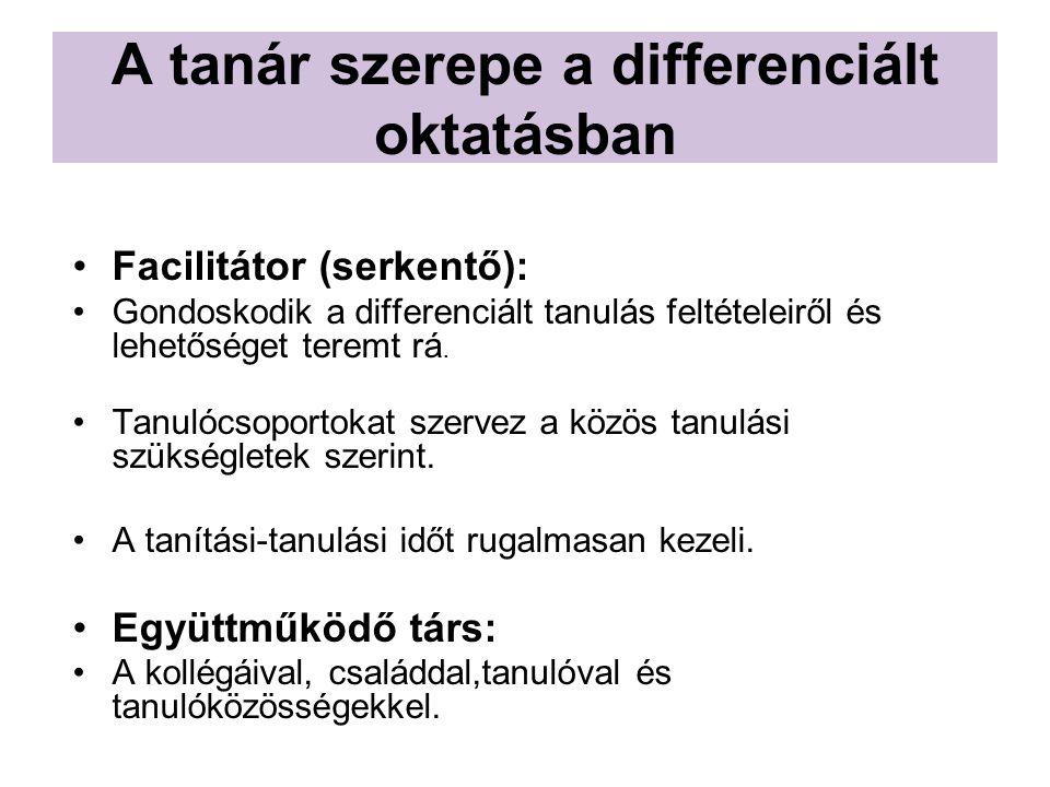 A tanár szerepe a differenciált oktatásban Facilitátor (serkentő): Gondoskodik a differenciált tanulás feltételeiről és lehetőséget teremt rá.