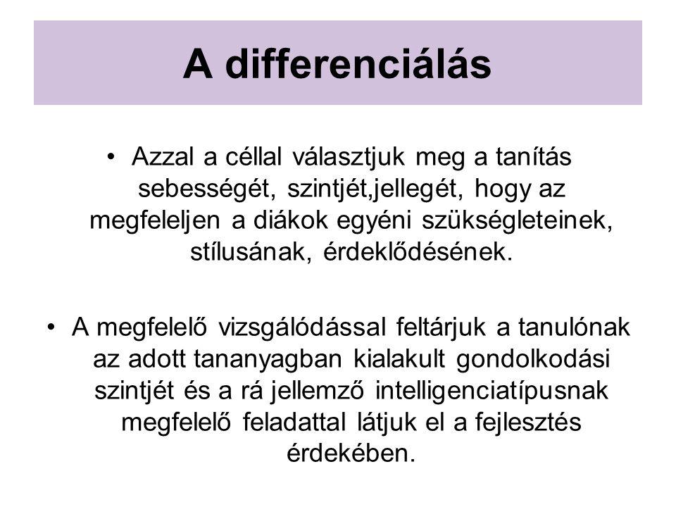 A differenciálás Azzal a céllal választjuk meg a tanítás sebességét, szintjét,jellegét, hogy az megfeleljen a diákok egyéni szükségleteinek, stílusána