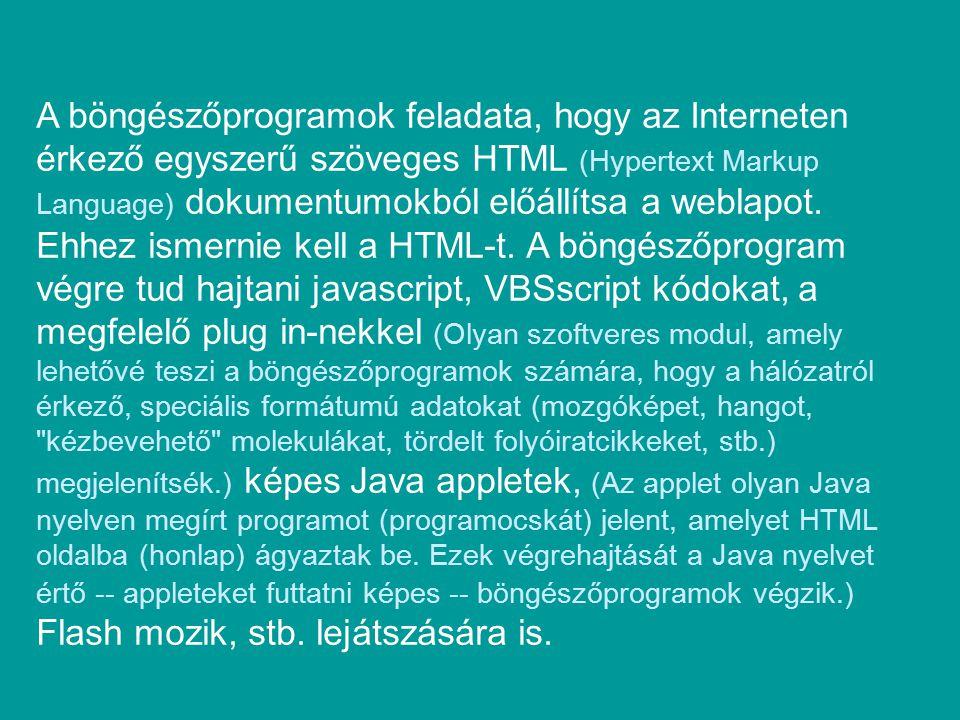 A böngészőprogramok feladata, hogy az Interneten érkező egyszerű szöveges HTML (Hypertext Markup Language) dokumentumokból előállítsa a weblapot. Ehhe