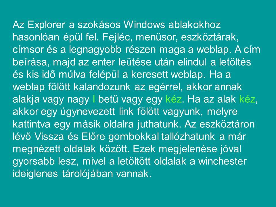 Az Explorer a szokásos Windows ablakokhoz hasonlóan épül fel. Fejléc, menüsor, eszköztárak, címsor és a legnagyobb részen maga a weblap. A cím beírása