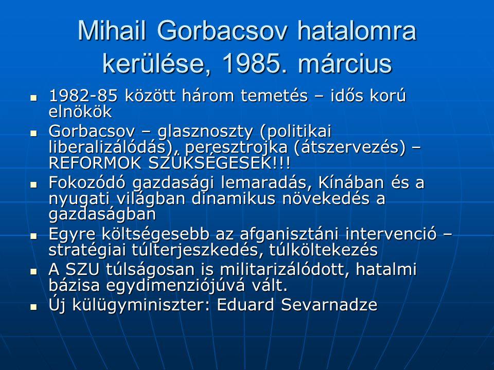 Mihail Gorbacsov hatalomra kerülése, 1985. március 1982-85 között három temetés – idős korú elnökök 1982-85 között három temetés – idős korú elnökök G