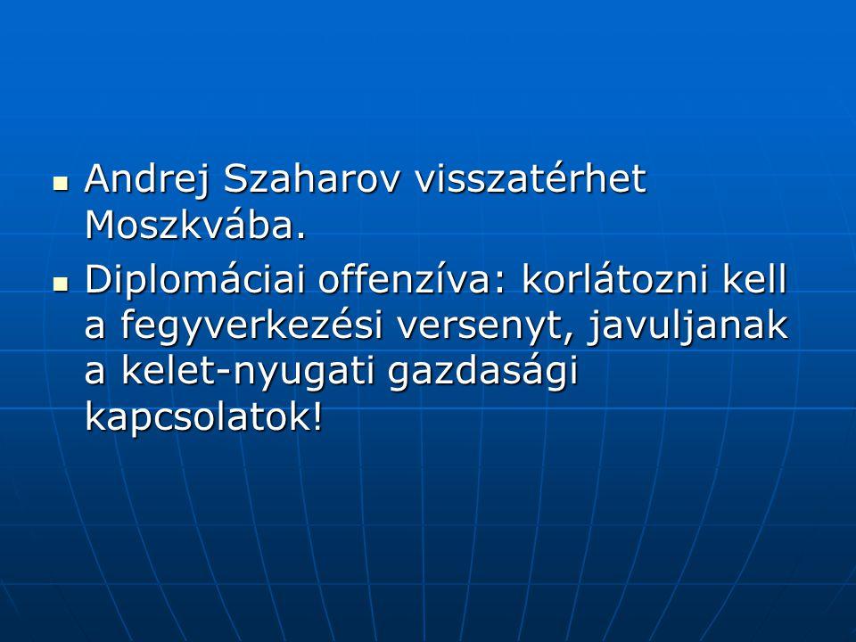 Andrej Szaharov visszatérhet Moszkvába. Andrej Szaharov visszatérhet Moszkvába. Diplomáciai offenzíva: korlátozni kell a fegyverkezési versenyt, javul