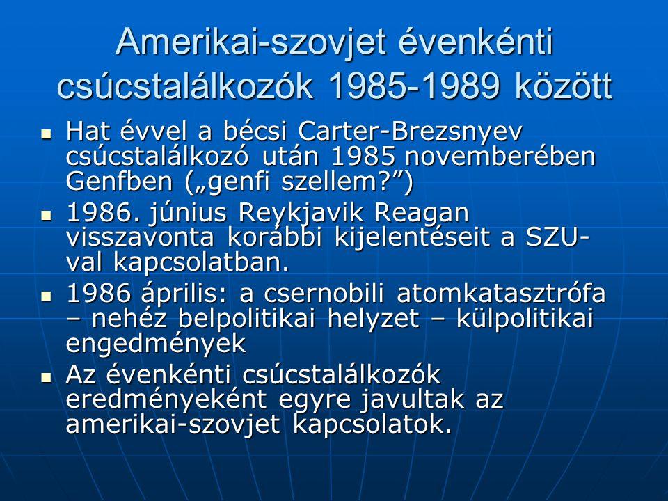 """Amerikai-szovjet évenkénti csúcstalálkozók 1985-1989 között Hat évvel a bécsi Carter-Brezsnyev csúcstalálkozó után 1985 novemberében Genfben (""""genfi s"""