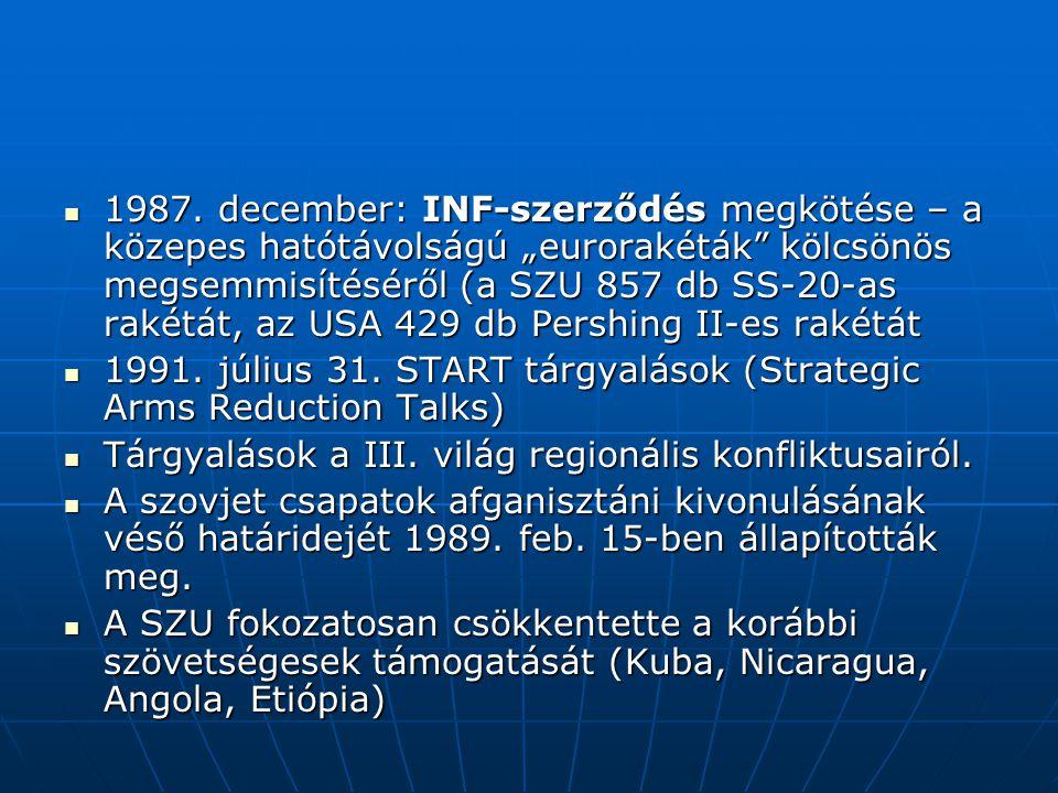 """1987. december: INF-szerződés megkötése – a közepes hatótávolságú """"eurorakéták"""" kölcsönös megsemmisítéséről (a SZU 857 db SS-20-as rakétát, az USA 429"""