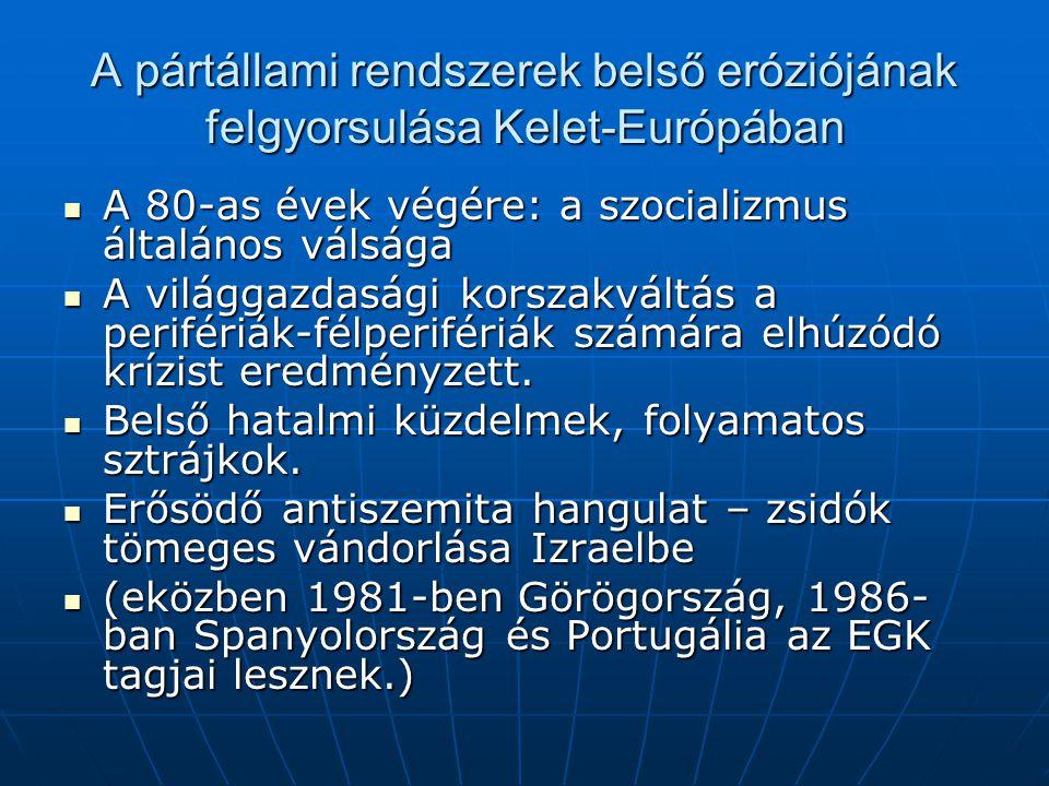 """Az 1989-es kelet-közép-európai forradalmi hullám kibontakozása A lengyelországi szabad választások (a Szolidaritás jelöltje Tadeus Mazowiecki lett a miniszterelnök) A lengyelországi szabad választások (a Szolidaritás jelöltje Tadeus Mazowiecki lett a miniszterelnök) A magyar fordulat (az 1956-os forradalom népfelkeléssé nyilvánítása, Kádár János visszalépése, Nagy Imre és mártírtársainak újratemetése, a demokratikus ellenzéki szervezetek létrejötte) A magyar fordulat (az 1956-os forradalom népfelkeléssé nyilvánítása, Kádár János visszalépése, Nagy Imre és mártírtársainak újratemetése, a demokratikus ellenzéki szervezetek létrejötte) A vasfüggöny megszűnése (Alois Mock és Horn Gyula) – """"páneurópai piknik A vasfüggöny megszűnése (Alois Mock és Horn Gyula) – """"páneurópai piknik A prágai """"bársonyos forradalom A prágai """"bársonyos forradalom"""
