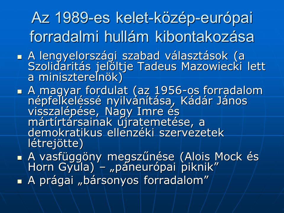 Az 1989-es kelet-közép-európai forradalmi hullám kibontakozása A lengyelországi szabad választások (a Szolidaritás jelöltje Tadeus Mazowiecki lett a m