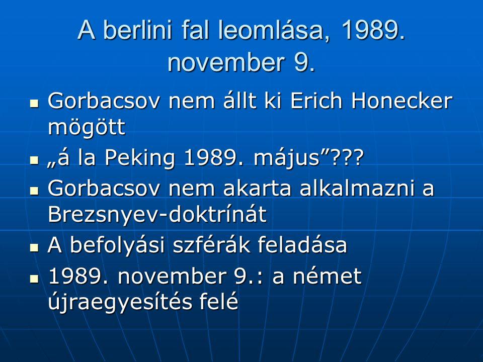 """A berlini fal leomlása, 1989. november 9. Gorbacsov nem állt ki Erich Honecker mögött Gorbacsov nem állt ki Erich Honecker mögött """"á la Peking 1989. m"""