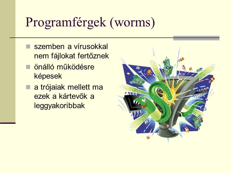 Programférgek (worms) szemben a vírusokkal nem fájlokat fertőznek önálló működésre képesek a trójaiak mellett ma ezek a kártevők a leggyakoribbak