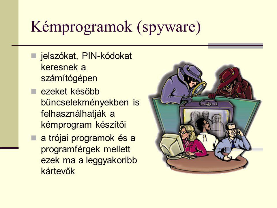 Kémprogramok (spyware) jelszókat, PIN-kódokat keresnek a számítógépen ezeket később bűncselekményekben is felhasználhatják a kémprogram készítői a tró