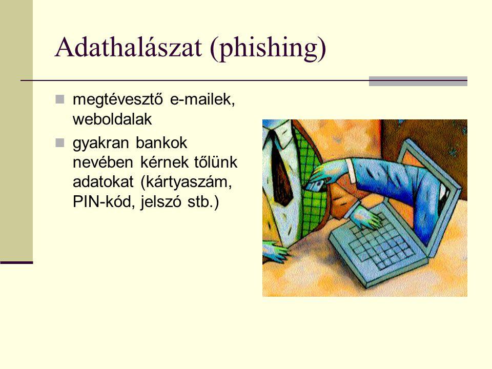 Adathalászat (phishing) megtévesztő e-mailek, weboldalak gyakran bankok nevében kérnek tőlünk adatokat (kártyaszám, PIN-kód, jelszó stb.)