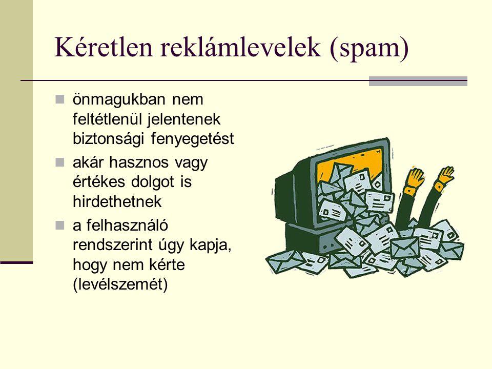 Kéretlen reklámlevelek (spam) önmagukban nem feltétlenül jelentenek biztonsági fenyegetést akár hasznos vagy értékes dolgot is hirdethetnek a felhasználó rendszerint úgy kapja, hogy nem kérte (levélszemét)