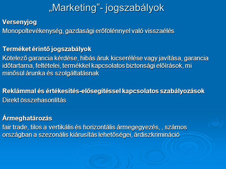 """""""Marketing - jogszabályok Versenyjog Monopoltevékenység, gazdasági erőfölénnyel való visszaélés Terméket érintő jogszabályok Kötelező garancia kérdése, hibás áruk kicserélése vagy javítása, garancia időtartama, feltételei, termékkel kapcsolatos biztonsági előírások, mi minősül árunka és szolgáltatásnak Reklámmal és értékesítés-elősegítéssel kapcsolatos szabályozások Direkt összehasonlítás Ármeghatározás fair trade, tilos a vertikális és horizontális ármegegyezés,, számos országban a szezonális kiárusítás lehetőségei, árdiszkrimináció"""