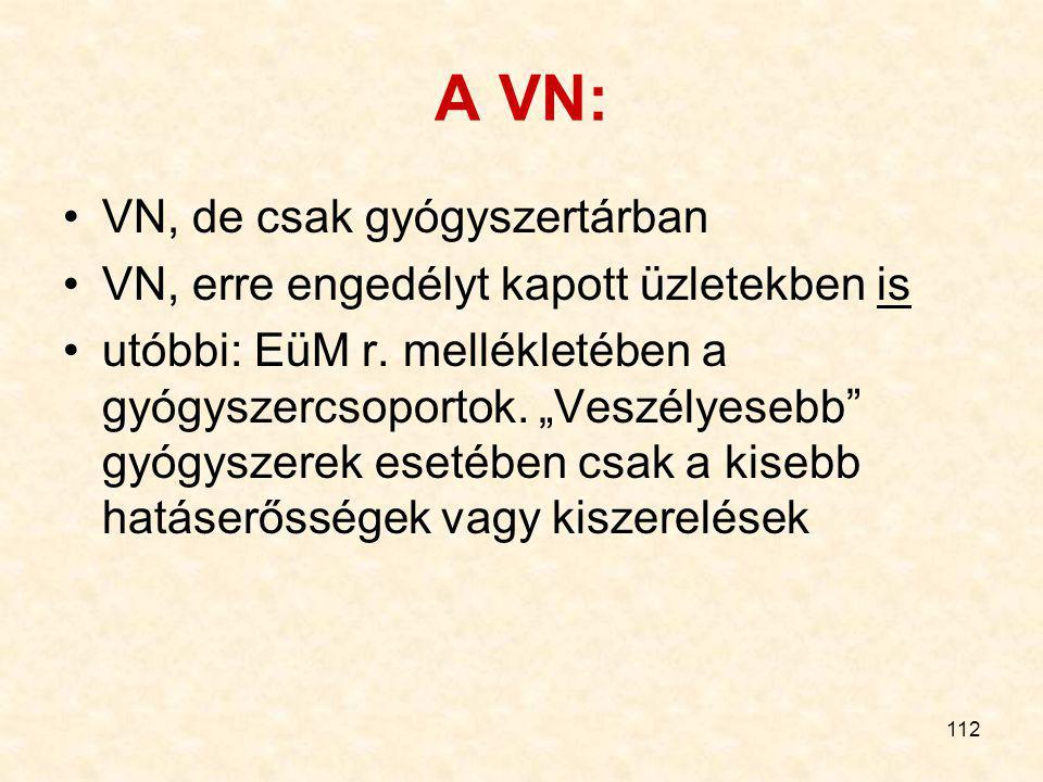 111 Gyógyszer kiadhatósága Orvosi rendelvény nélkül is VN Csak orvosi rendelvényre - Ismételhető (EU-lehetőség, nálunk nincs) - Korlátozás nélkül V -
