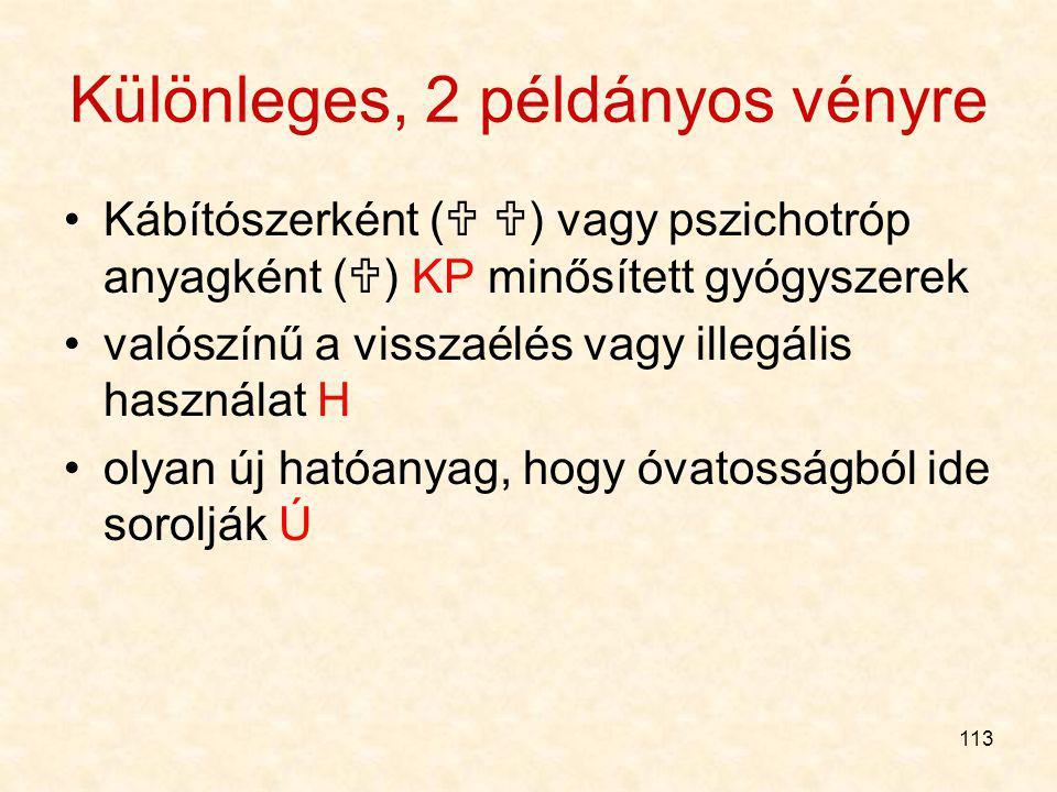 """112 A VN: VN, de csak gyógyszertárban VN, erre engedélyt kapott üzletekben is utóbbi: EüM r. mellékletében a gyógyszercsoportok. """"Veszélyesebb"""" gyógys"""