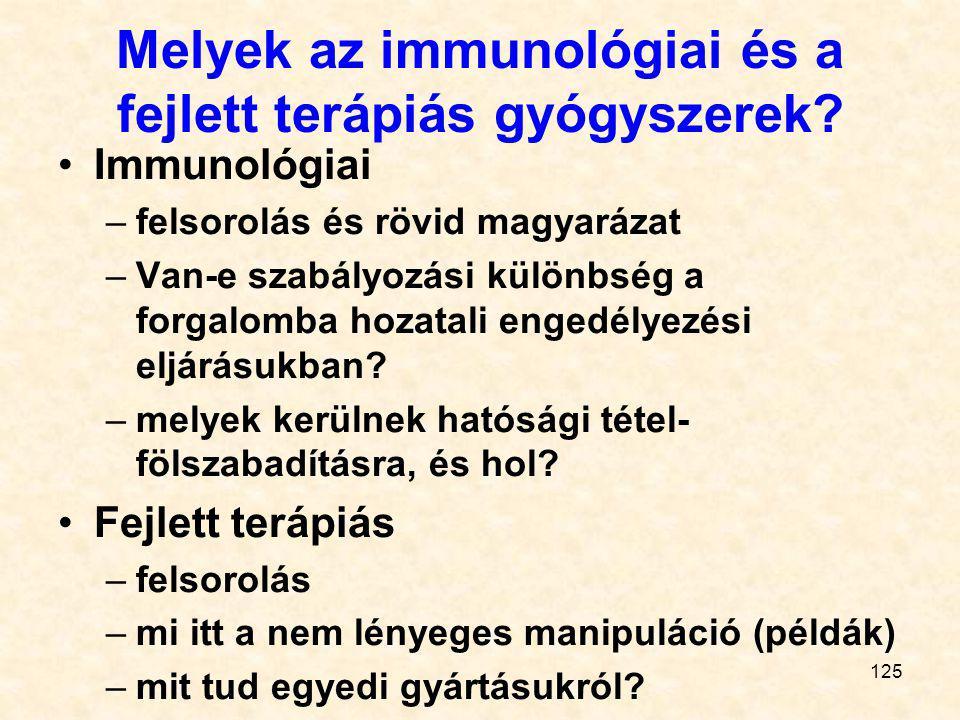 124 Generikus gyógyszerek Mik ezek Szabadalom, adatkizárólagosság, Bolar-feltétel (számadatokkal!) Egyenértékűség-fajták (mi a gyógyszerészi + 5) Egye