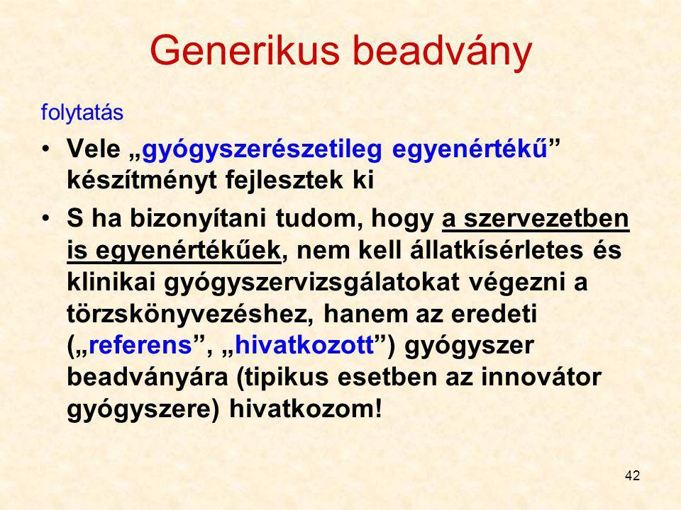 41 Generikus beadvány Forgalomban van másik gyártó (ált.: az innovátor) gyógyszerkészítménye Lejárt a hatóanyagra vonatkozó szabadalom (tipikus esetbe