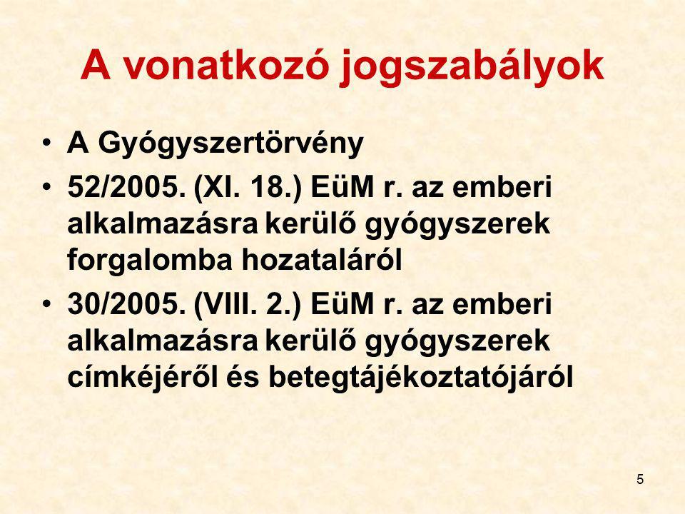 5 A vonatkozó jogszabályok A Gyógyszertörvény 52/2005.