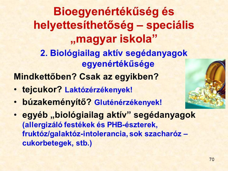 """69 Bioegyenértékűség és helyettesíthetőség – speciális """"magyar iskola"""" 1. A minőség egyenértékűsége Általában nem vizsgálják, azaz: a generikus beadvá"""