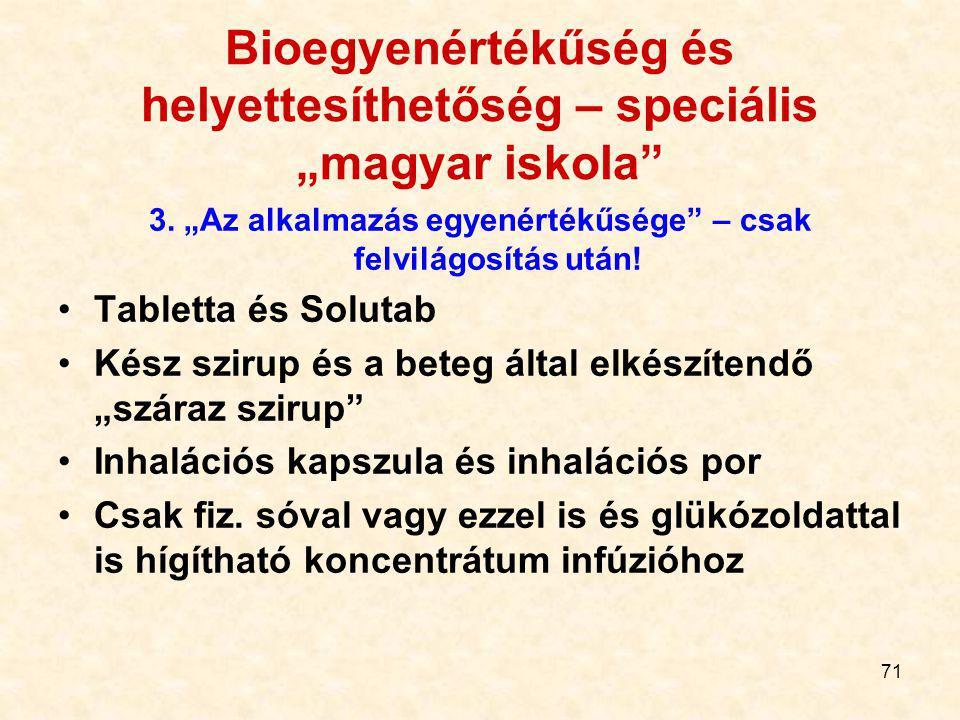 """70 Bioegyenértékűség és helyettesíthetőség – speciális """"magyar iskola"""" 2. Biológiailag aktív segédanyagok egyenértékűsége Mindkettőben? Csak az egyikb"""