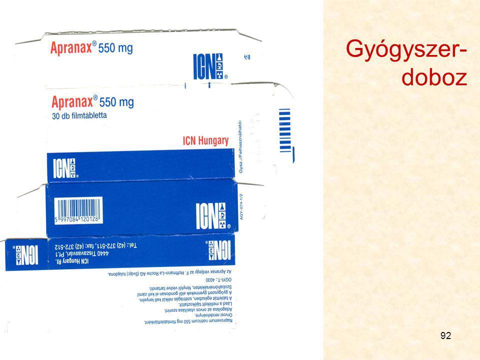 91 Radioaktív gyógyszer címkéje Különleges szabályok vannak, itt nem részletezzük