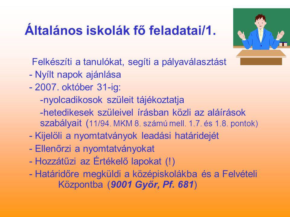 Általános iskolák fő feladatai/1. Felkészíti a tanulókat, segíti a pályaválasztást - Nyílt napok ajánlása - 2007. október 31-ig: -nyolcadikosok szülei
