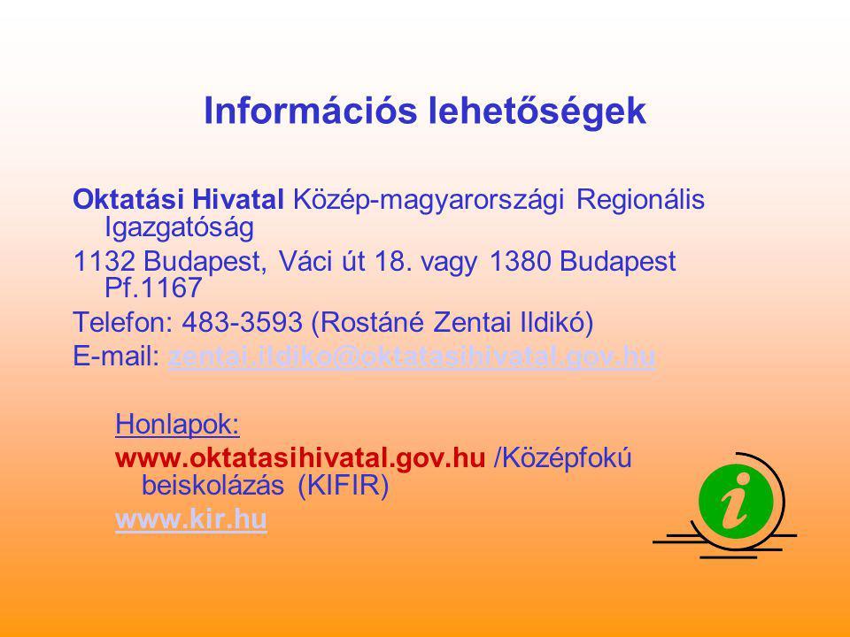 Információs lehetőségek Oktatási Hivatal Közép-magyarországi Regionális Igazgatóság 1132 Budapest, Váci út 18. vagy 1380 Budapest Pf.1167 Telefon: 483