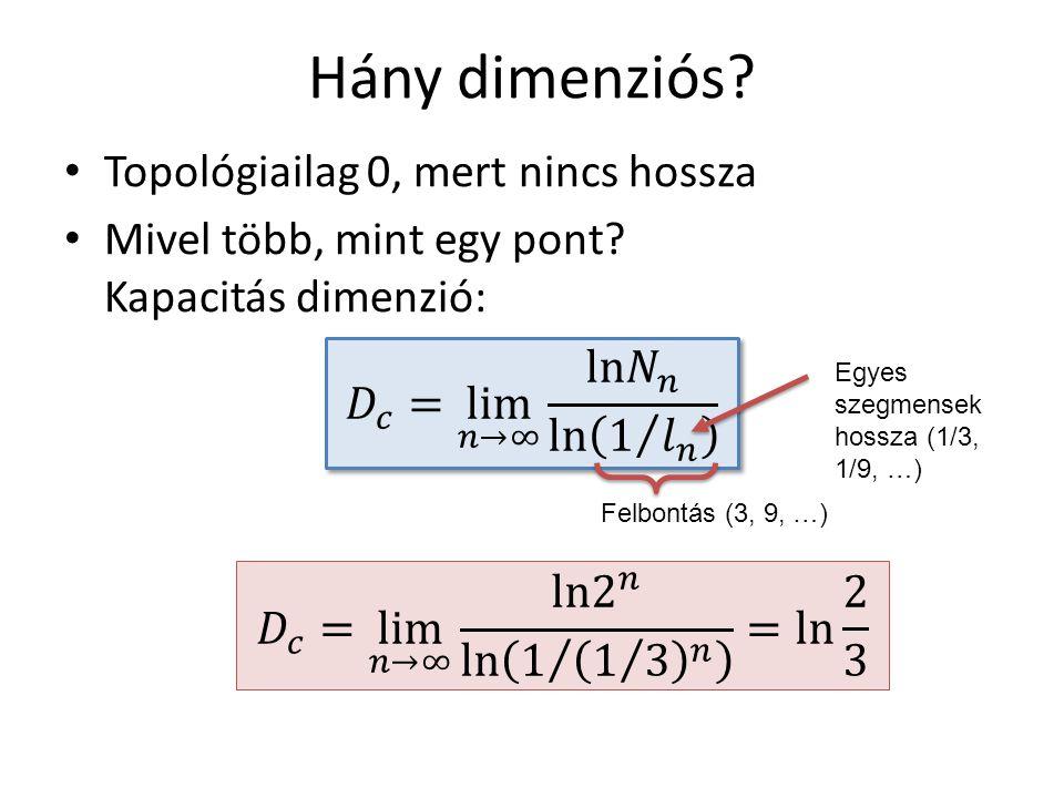 Hány dimenziós.Topológiailag 0, mert nincs hossza Mivel több, mint egy pont.