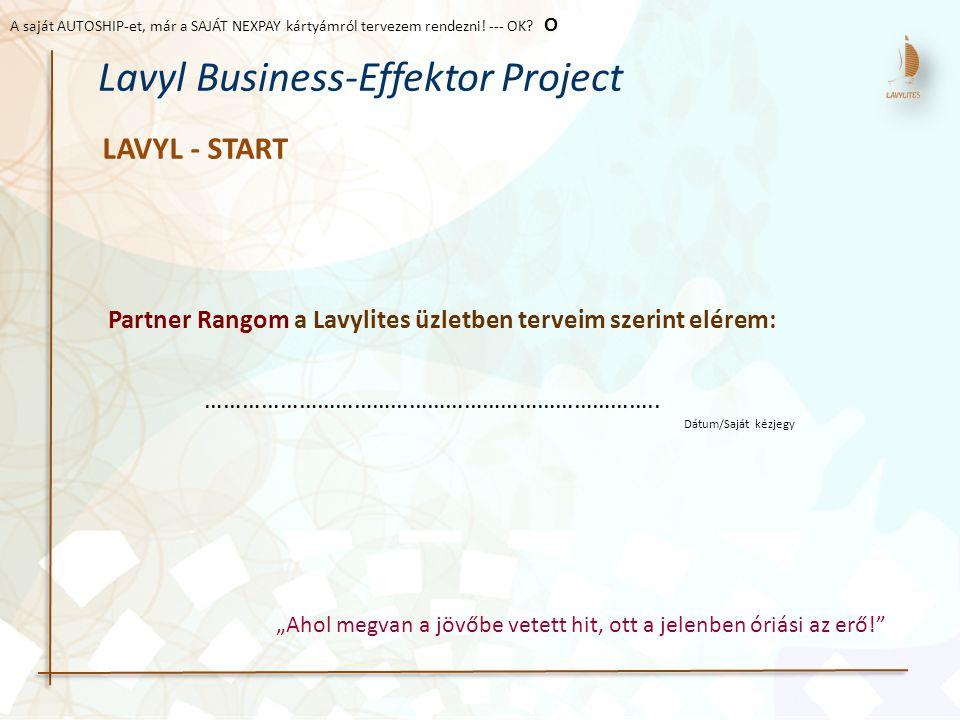 LAVYL - START Lavyl Business-Effektor Project Partner Rangom a Lavylites üzletben terveim szerint elérem: ……………………………………………………………….. Dátum/Saját kézje