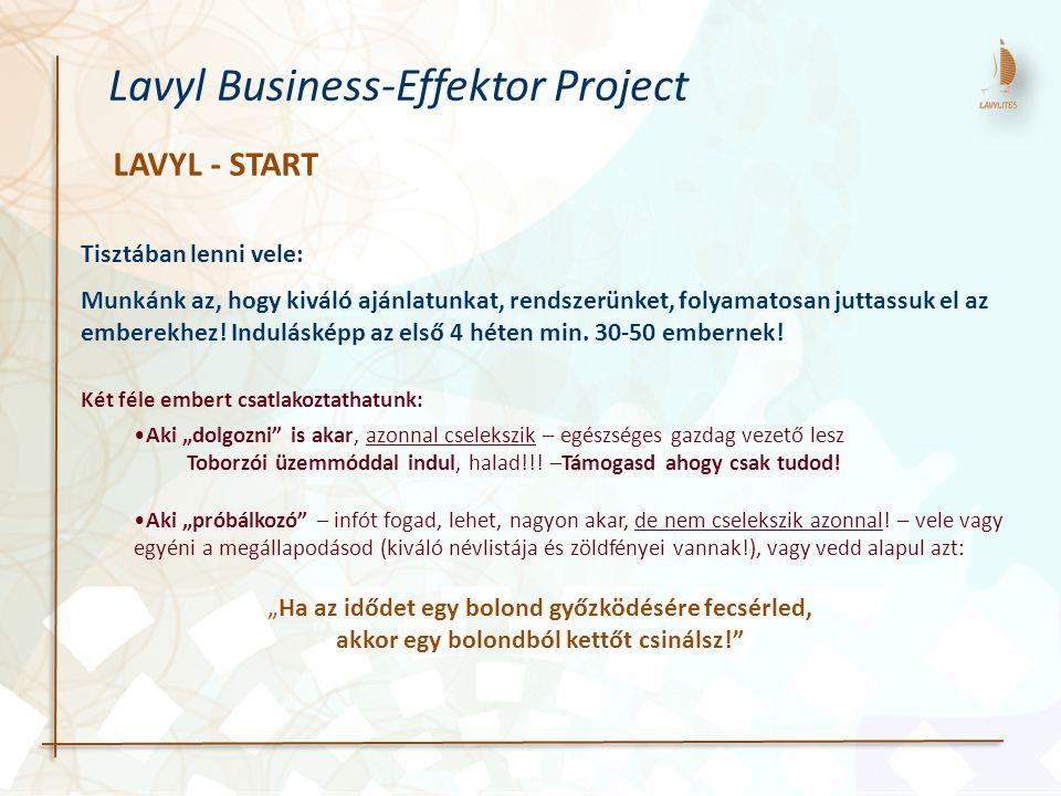 LAVYL - START Lavyl Business-Effektor Project Tisztában lenni vele: Munkánk az, hogy kiváló ajánlatunkat, rendszerünket, folyamatosan juttassuk el az