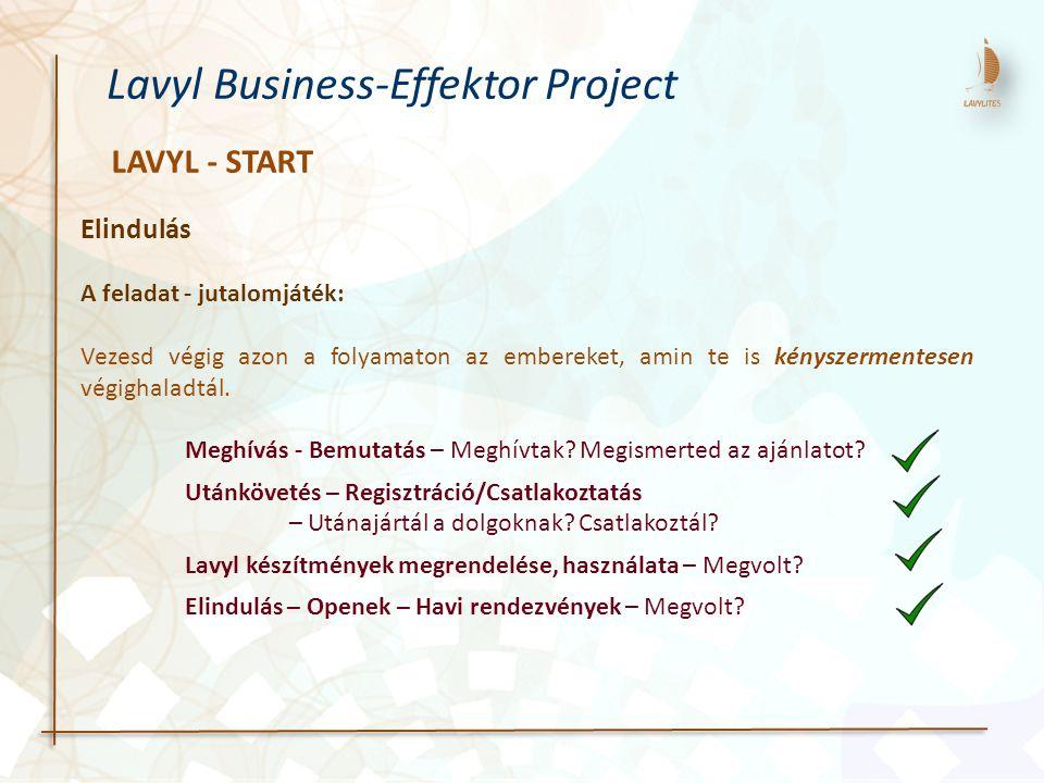 LAVYL - START Lavyl Business-Effektor Project Elindulás A feladat - jutalomjáték: Vezesd végig azon a folyamaton az embereket, amin te is kényszermentesen végighaladtál.
